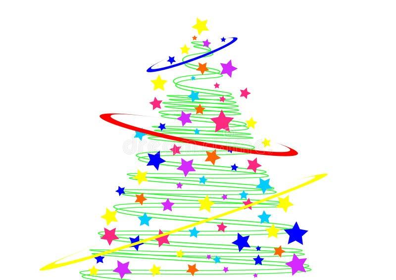 Albero di Natale e stelle stilizzati illustrazione vettoriale