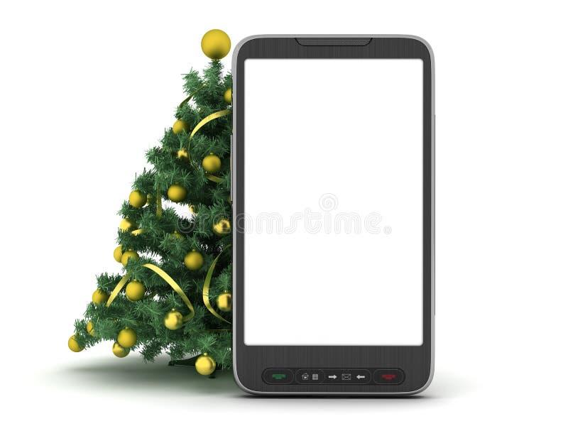 Albero di Natale e telefono delle cellule royalty illustrazione gratis