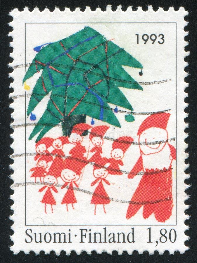 Albero di Natale ed elfi fotografia stock