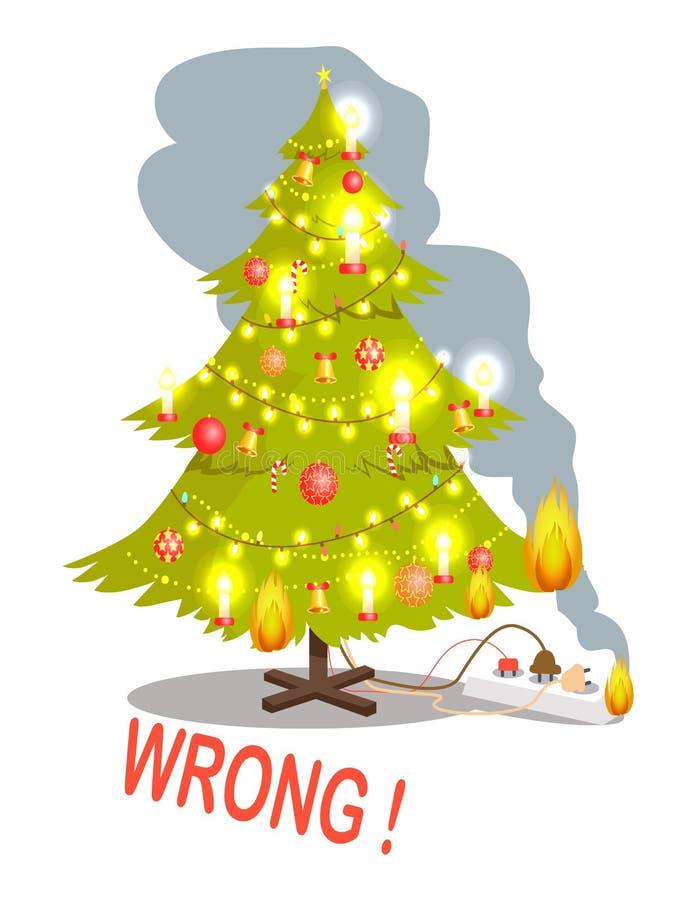 Albero di Natale ed illustrazione sbagliati di vettore del fuoco illustrazione di stock