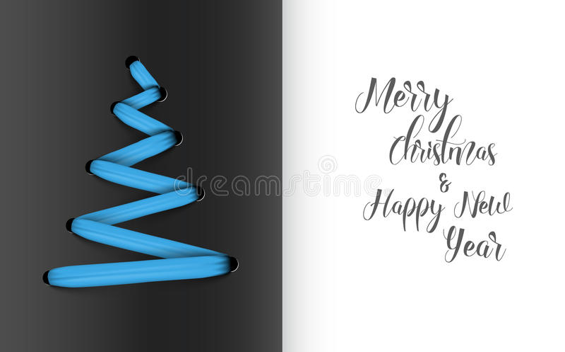 Albero di Natale fatto da pizzo blu illustrazione vettoriale