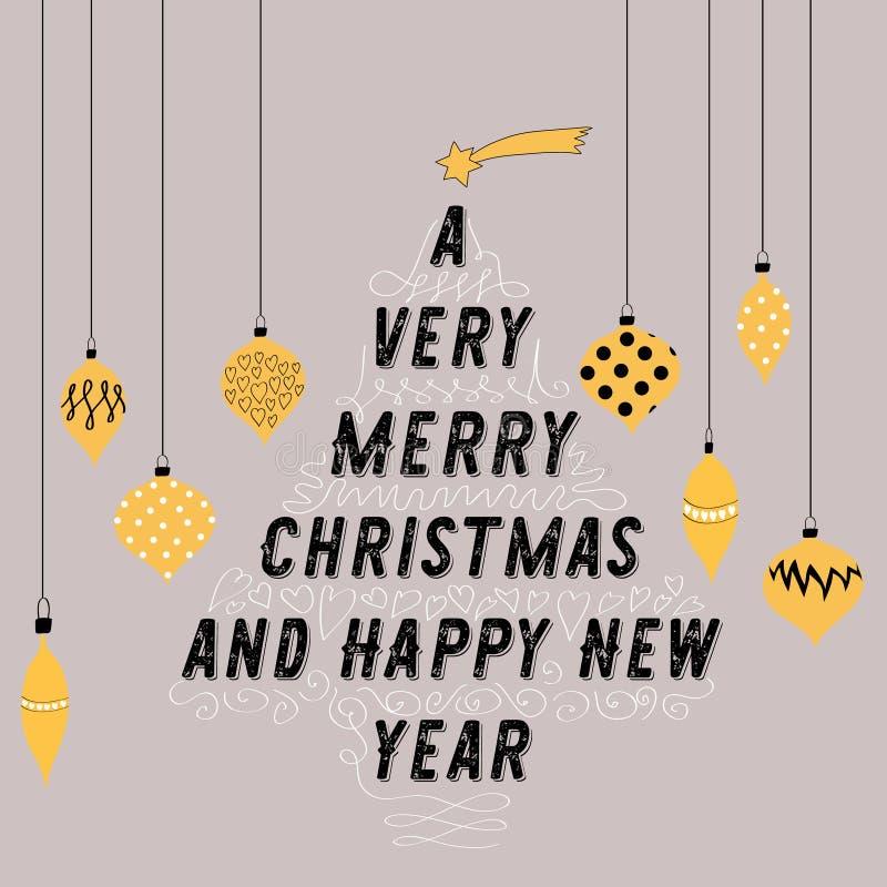 Albero di Natale fatto da testo Palle gialle decorative che appendono intorno  Illustrazione di vettore su fondo grigio Un Chr mo illustrazione vettoriale