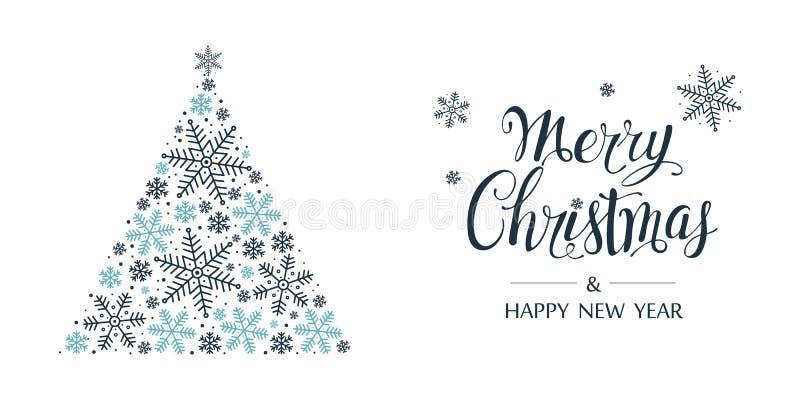 Albero di Natale fatto dai fiocchi di neve Buon Natale e carta del buon anno Vettore royalty illustrazione gratis