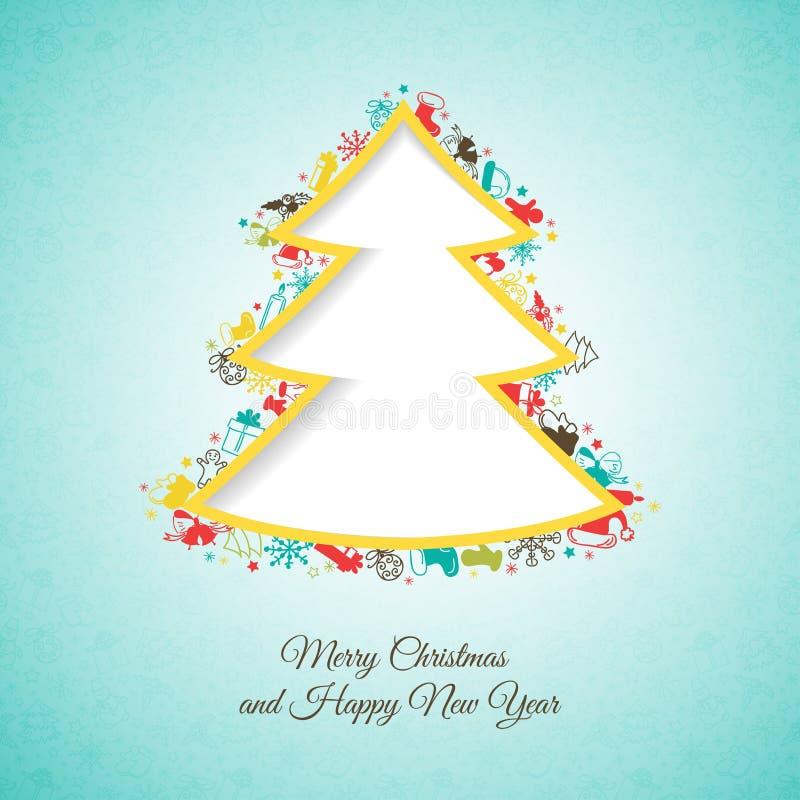 Albero di Natale fatto degli elementi del Natale royalty illustrazione gratis