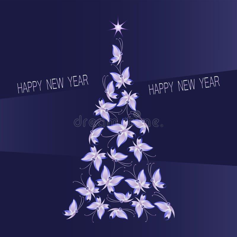 Albero di Natale fatto delle farfalle su un fondo porpora-blu scuro royalty illustrazione gratis