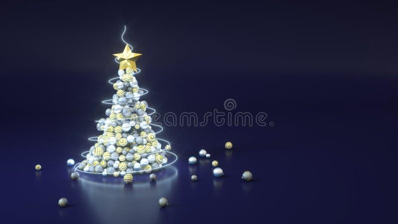 Albero di Natale fatto di palle su sfondo blu con spazio di copia Disegno di rendering 3D Argento, oro e grigio Minimo illustrazione di stock