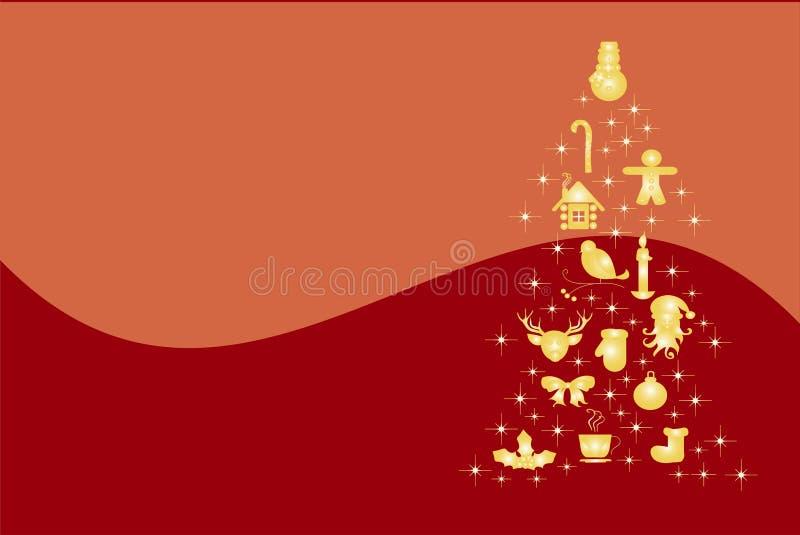 Albero di Natale Formato dalle stelle, bulfinch, pan di zenzero, guanti, riparo, agrifoglio - natale dell'oro illustrazione di stock