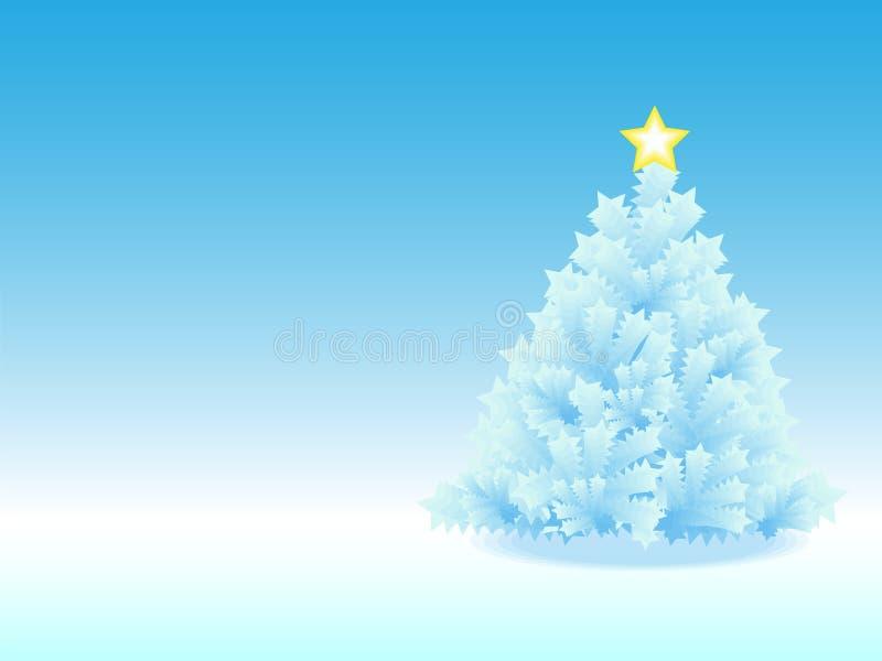 Albero di Natale ghiacciato nella priorità bassa blu di gradiente fotografia stock libera da diritti
