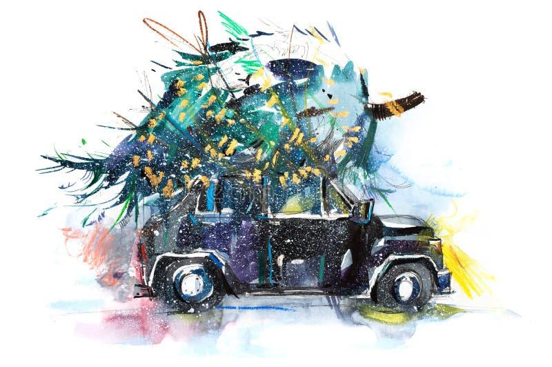 Albero di Natale legato al tetto su un abete naturale del taglio fresco dell'automobile per la festa del nuovo anno di festival d immagini stock libere da diritti