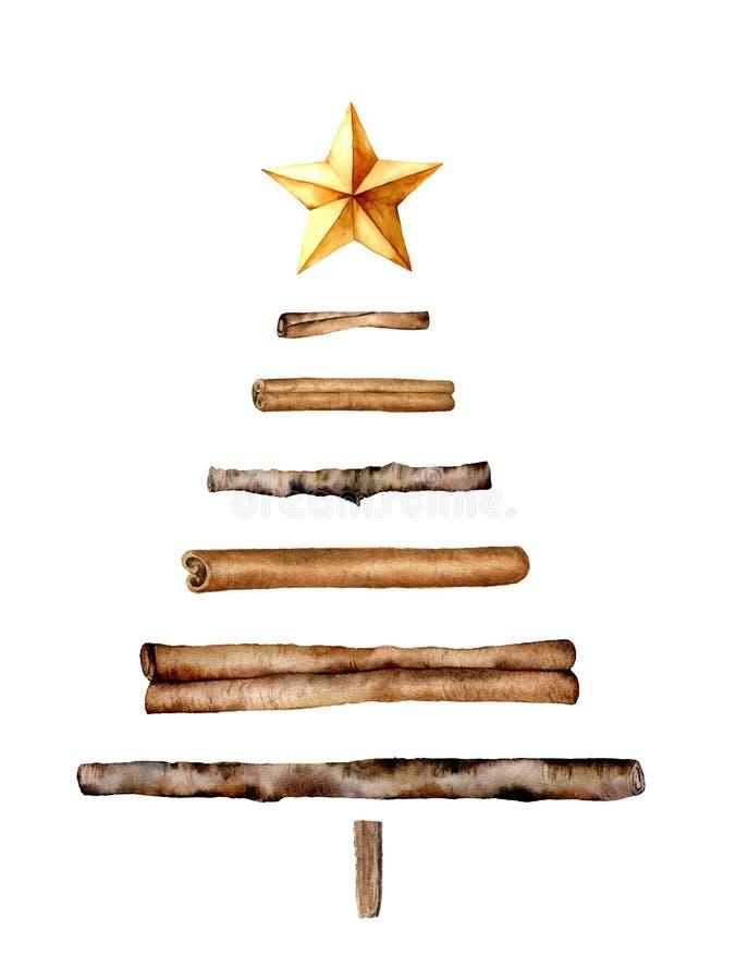 Albero di Natale di legno dell'acquerello Ramo di legno dipinto a mano, bastoni di cannella, stella dorata isolata su fondo bianc illustrazione di stock
