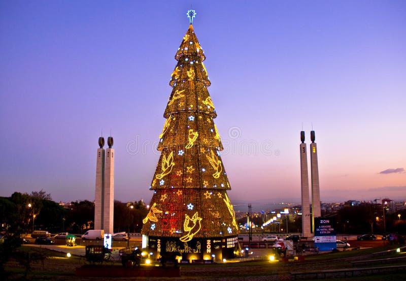 Albero di Natale a Lisbona immagini stock libere da diritti