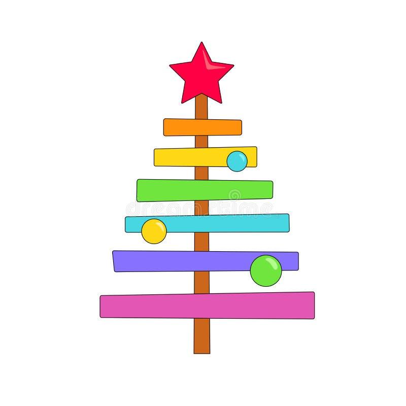 Albero di Natale luminoso nei colori dell'arcobaleno con una stella rossa e le palle colorate su un fondo bianco illustrazione vettoriale