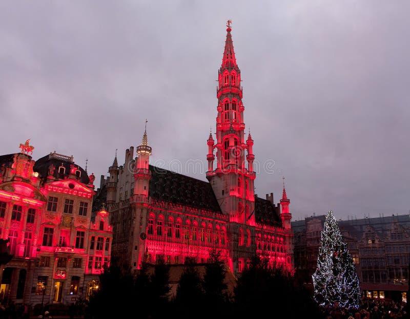 Albero di Natale nel grande posto, Bruxelles fotografia stock