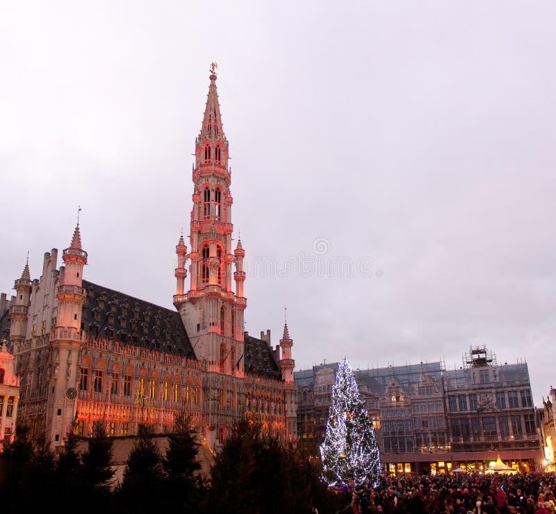 Albero di Natale nel grande posto, Bruxelles immagine stock libera da diritti