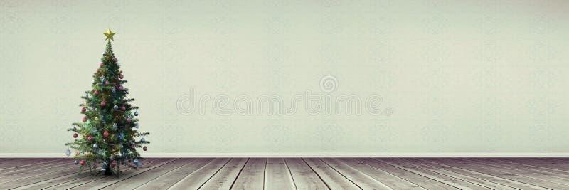 Albero di Natale nella stanza lunga illustrazione vettoriale