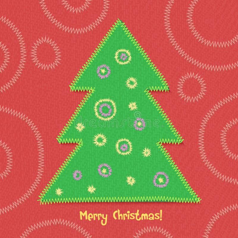 Albero di Natale nello stile della rappezzatura illustrazione di stock