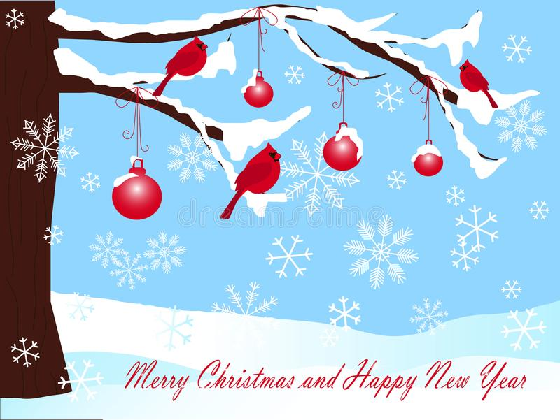 Albero di Natale in neve, palle e cardinale rosso Background sul blu, sul Buon Natale e sul buon anno illustrazione vettoriale
