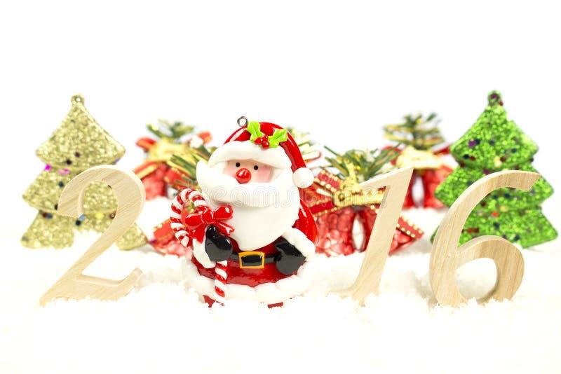 Albero di Natale numerico del buon anno 2016 e di legno immagine stock libera da diritti