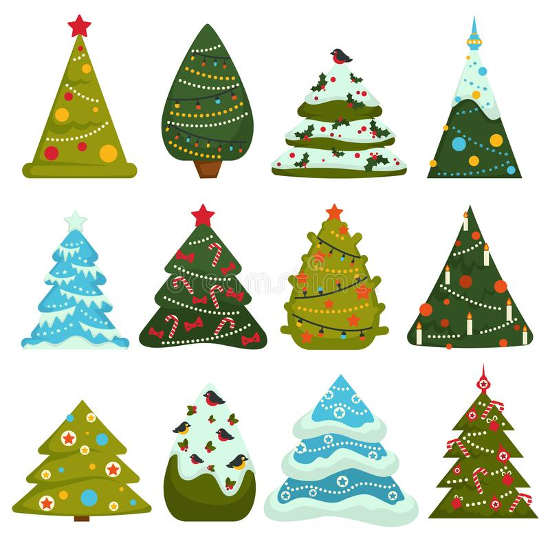Albero di Natale, pino sempreverde decorato con le ghirlande e giocattoli illustrazione vettoriale