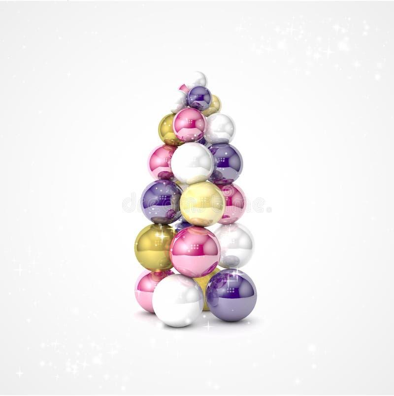 Albero di Natale realistico di vettore fatto dalle palle illustrazione di stock