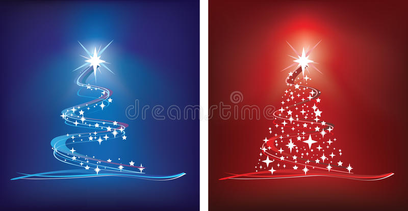 Albero di Natale rosso e blu illustrazione di stock