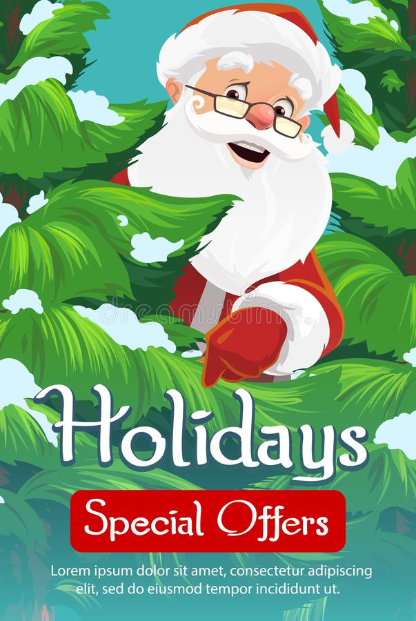 Albero di Natale, di Santa e neve Vendita di natale illustrazione di stock