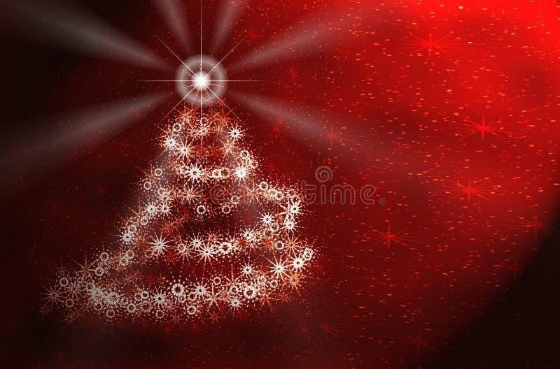 Albero di Natale. Scheda rossa illustrazione di stock