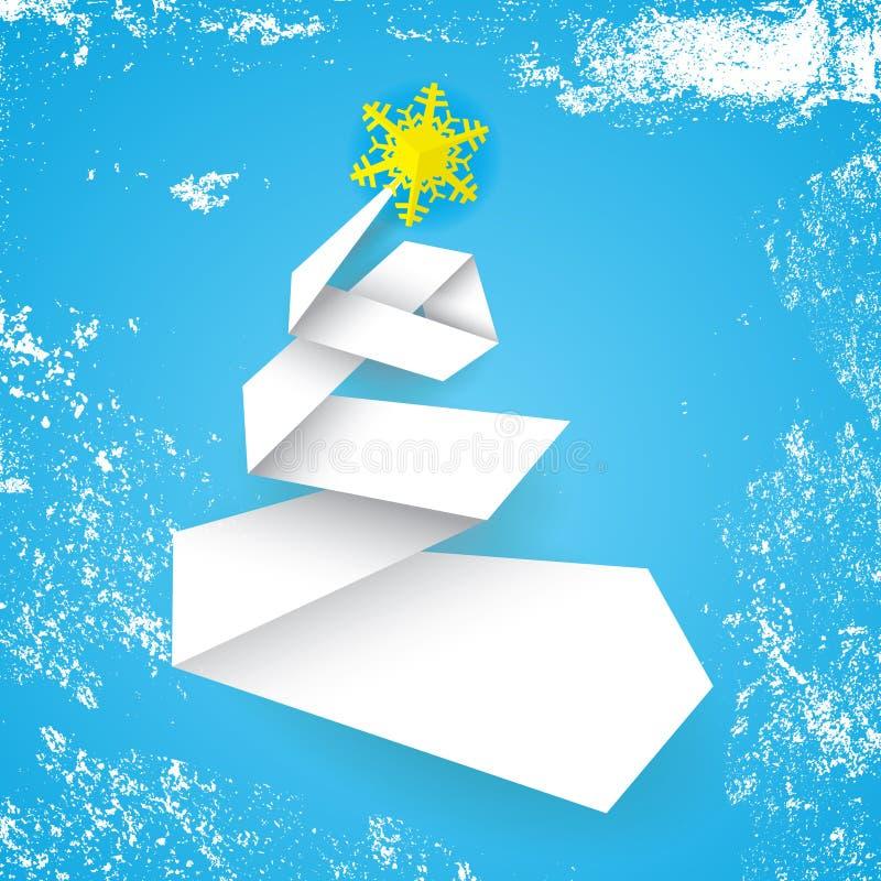 Albero di Natale semplice stilizzato di vettore fatto dalla banda di carta su fondo blu illustrazione di stock