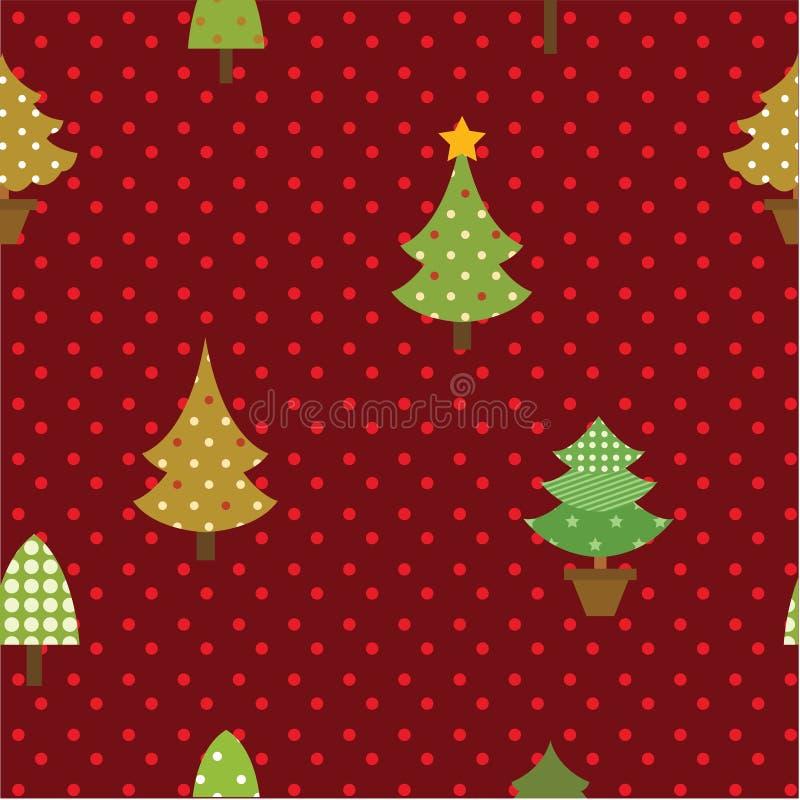 Albero di Natale senza cuciture del modello illustrazione vettoriale
