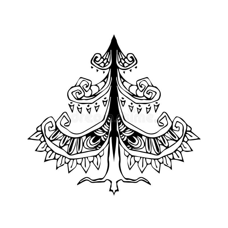 Albero di Natale stilizzato decorativo Illustrazione di vettore dell'albero illustrazione vettoriale