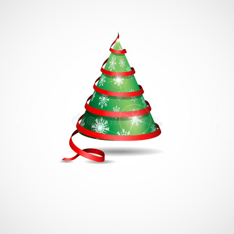 Albero di Natale stilizzato del nastro. illustrazione di stock