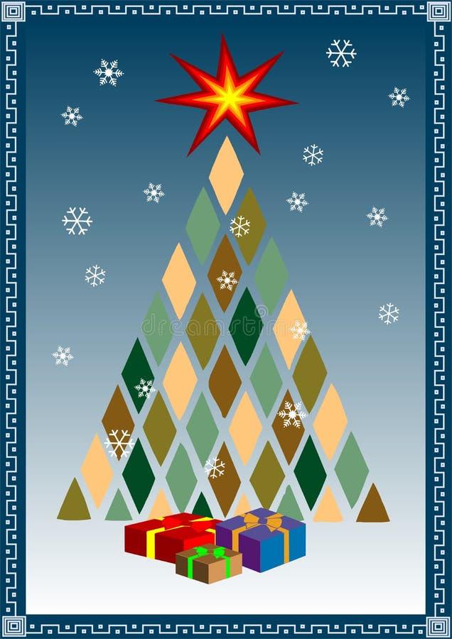 Albero di Natale stilizzato di vettore con i presente illustrazione di stock