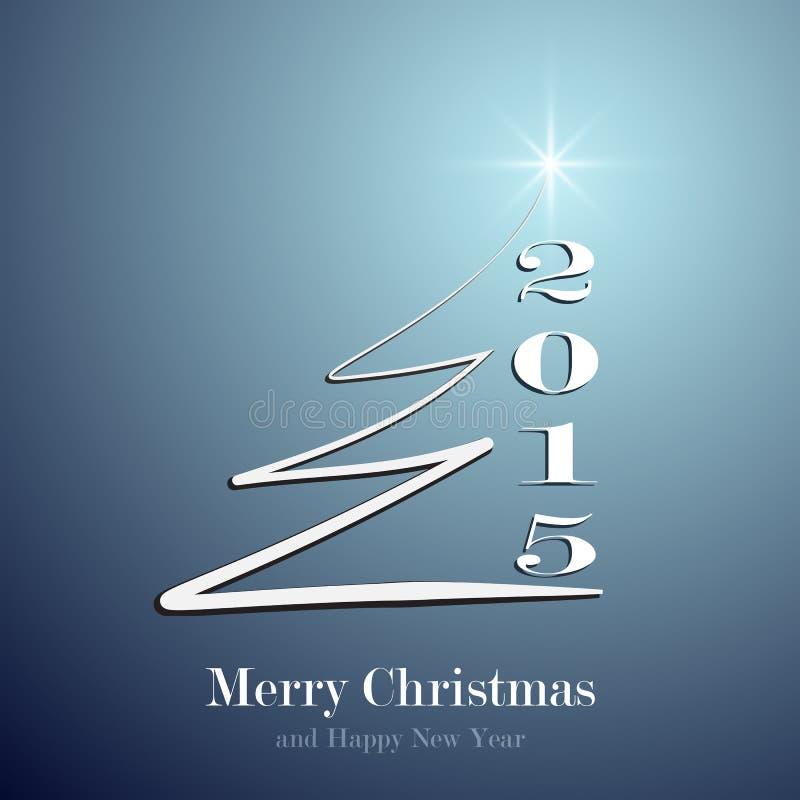 Albero di Natale stilizzato su fondo blu decorativo illustrazione vettoriale