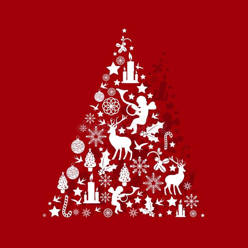 Albero di Natale su colore rosso illustrazione di stock