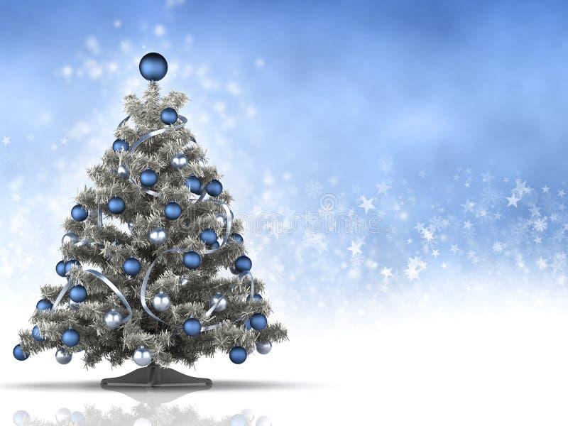 Albero di Natale su fondo blu e bianco illustrazione di stock