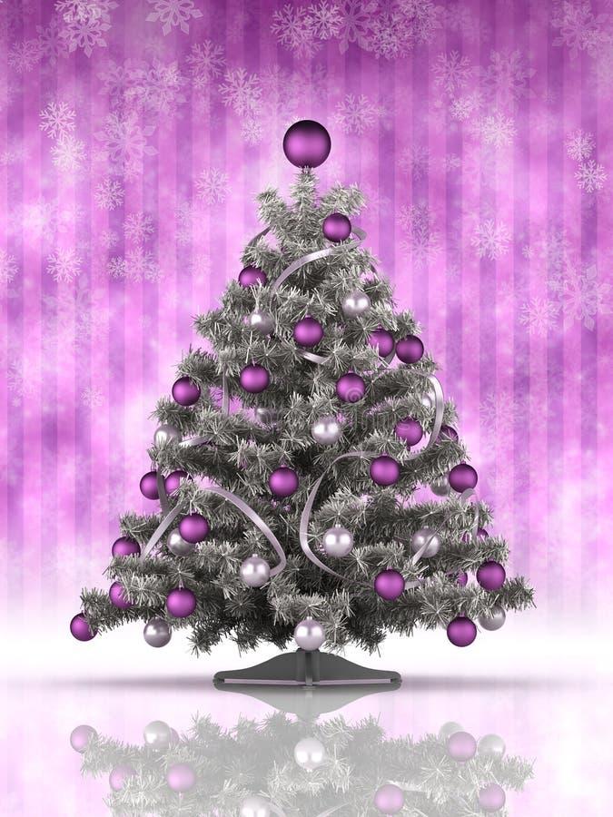 Albero di Natale su fondo porpora illustrazione vettoriale