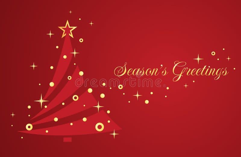 Albero di Natale su fondo rosso. illustrazione di stock