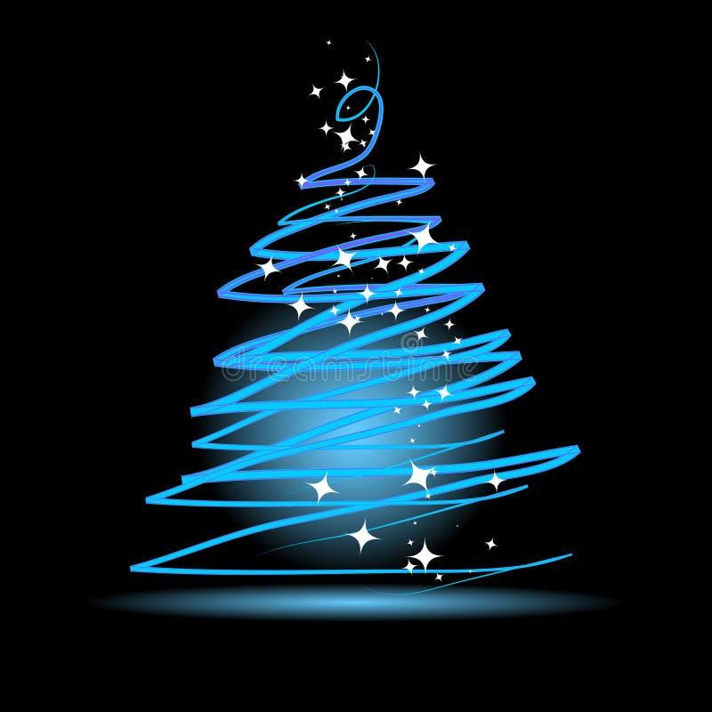 Albero di Natale su priorità bassa nera illustrazione vettoriale