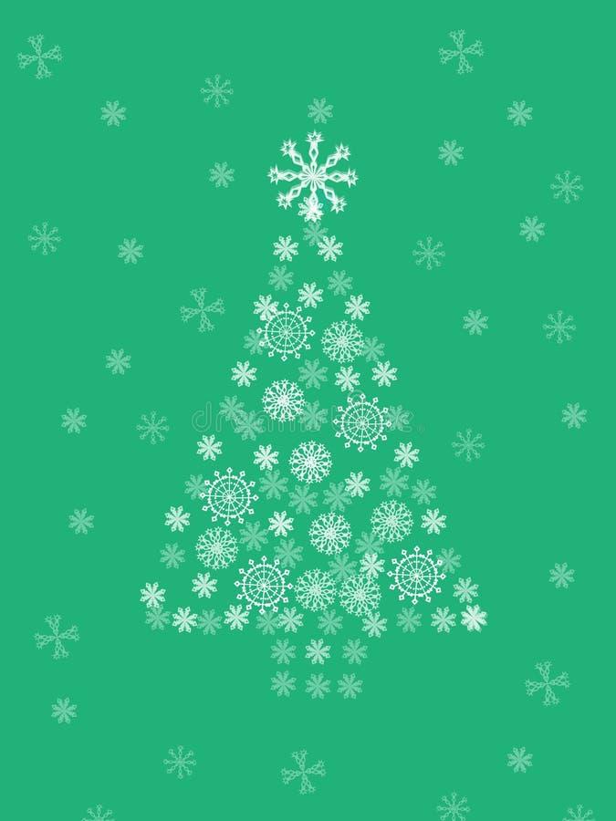 Albero di Natale su priorità bassa verde illustrazione vettoriale