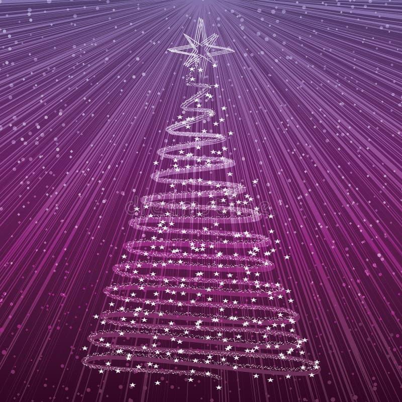 Albero di Natale su priorità bassa viola illustrazione vettoriale