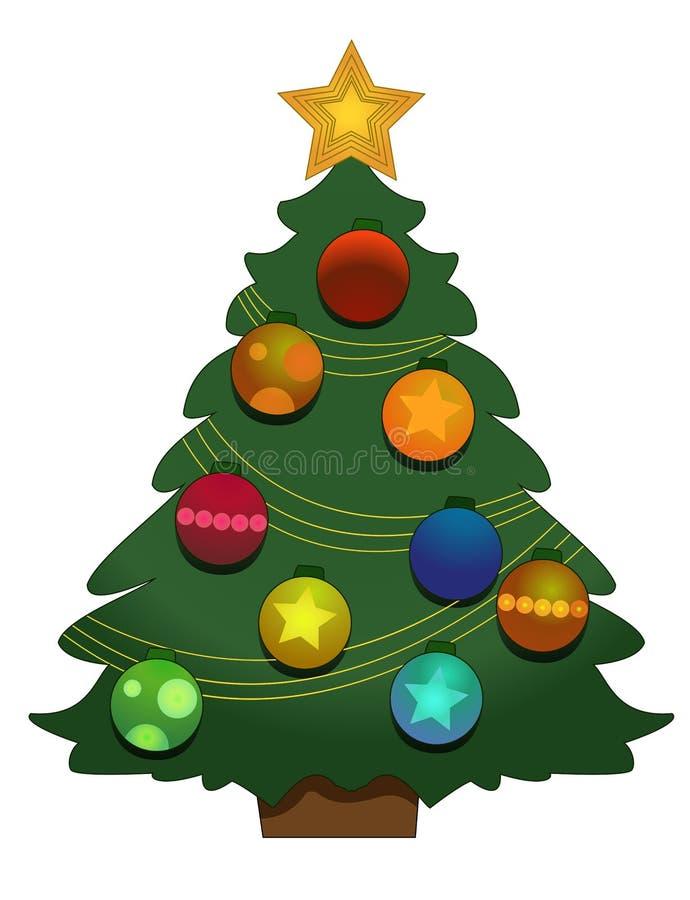 Albero di Natale su una priorità bassa bianca royalty illustrazione gratis