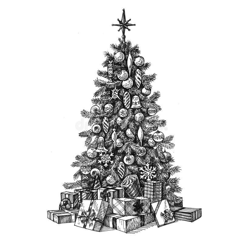 Albero di Natale su una priorità bassa bianca abbozzo illustrazione vettoriale