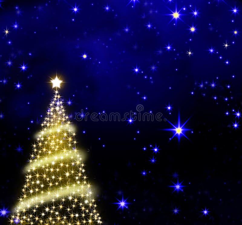 Albero di Natale sul fondo del cielo delle stelle illustrazione di stock