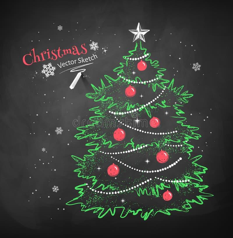 Albero di Natale sul fondo nero della lavagna illustrazione di stock