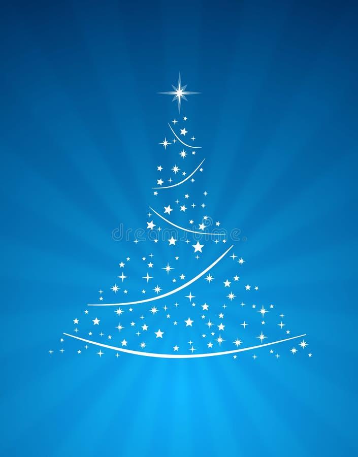 Albero di Natale sull'azzurro illustrazione vettoriale