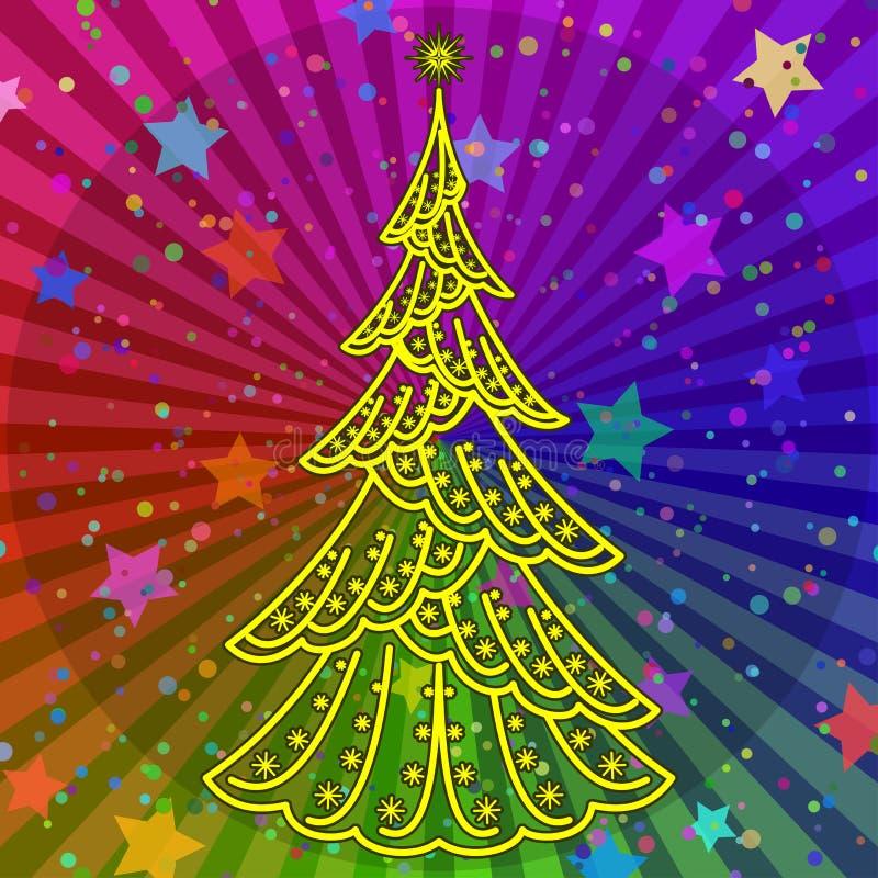 Albero di Natale sulla priorità bassa del Rainbow royalty illustrazione gratis