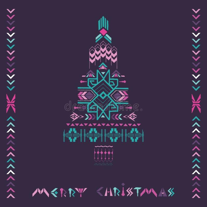 Albero di Natale - tema azteco d'annata tribale royalty illustrazione gratis
