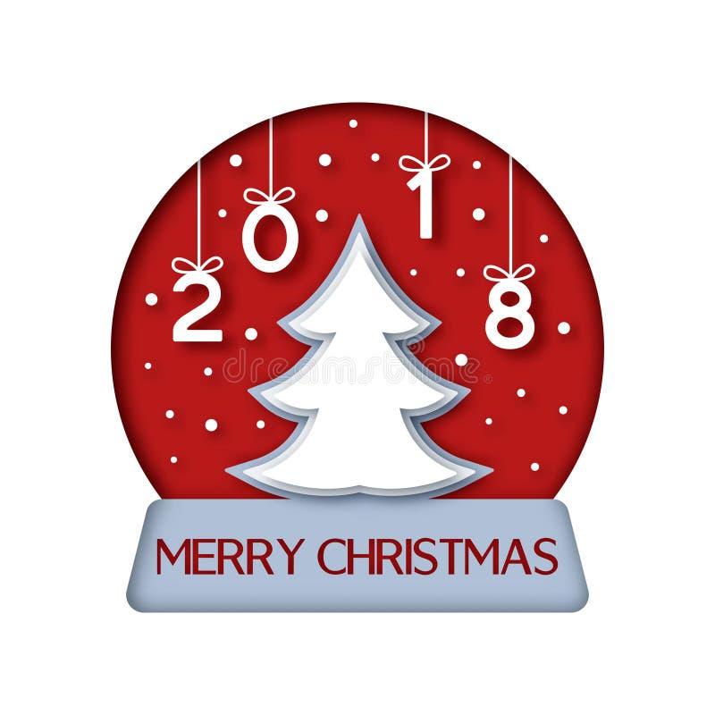 Albero di Natale in un globo della neve illustrazione di stock