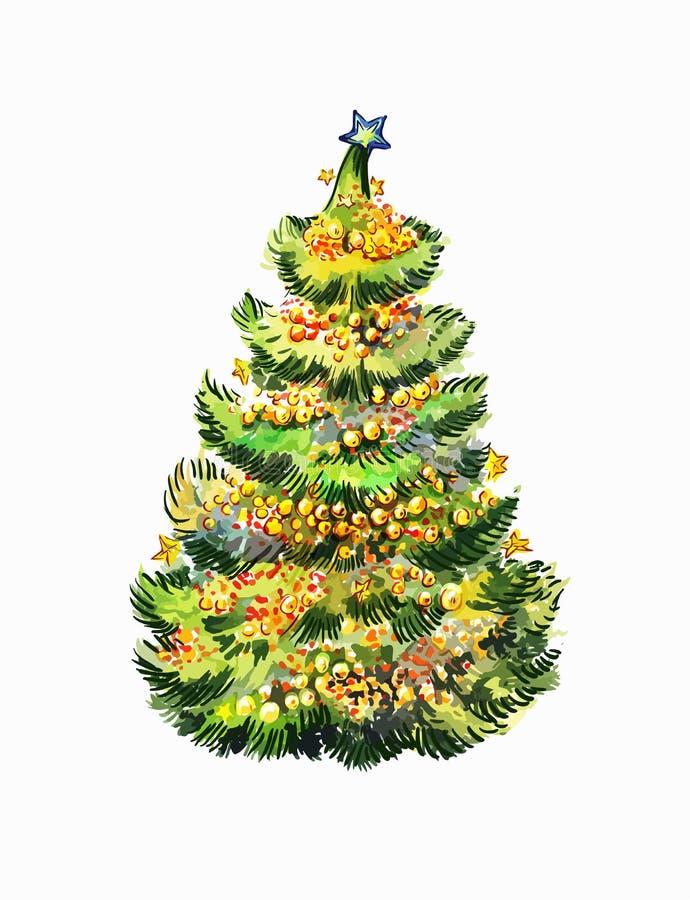Albero di Natale in un paese caldo di clima Illustrazione di vettore del nuovo anno nello stile dell'acquerello isolata su bianco royalty illustrazione gratis