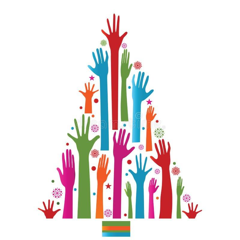 Albero di Natale variopinto delle mani fotografie stock libere da diritti
